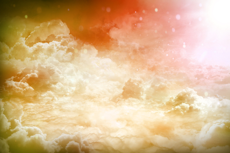 fantastic: Over the Clouds. Fantastic background with clouds and sunlight beams Stock Photo