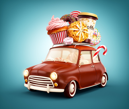 Cute fantastic chocolade car with sweets and coffee on top.