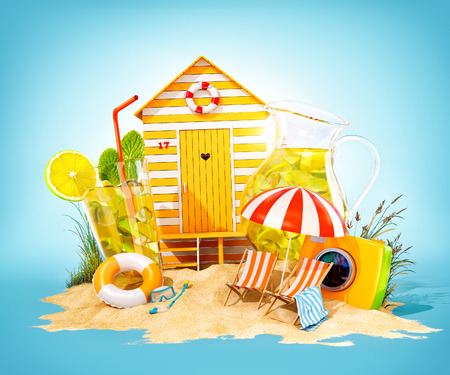 Colorful retro beach hut , lemonade, deck chairs on a beach. Unusual summer 3D illustration