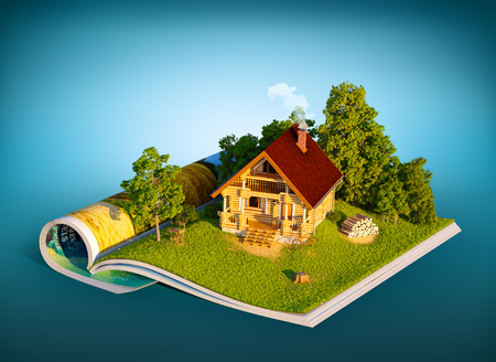 rural house: Cute rural house in a forest on a page of opened magazine.  Unusual travel illustration Stock Photo