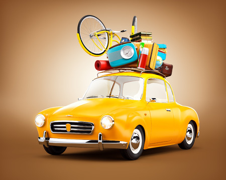 an unusual: Retro car with luggage. Unusual  travel illustration Stock Photo
