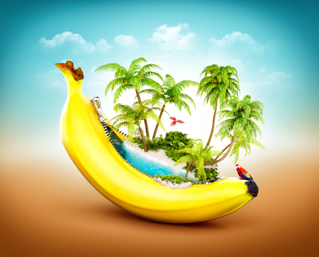 tropical fruit: Amazing tropical beach with palms inside banana. Unusual travel illustrtion