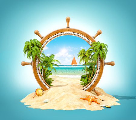 Wonderful tropical landscape with palms and beach in wooden helm. Unusual 3D illustration Foto de archivo