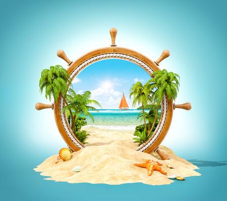 Wunderschöne tropische Landschaft mit Palmen und Strand in Holz Helm. Ungewöhnliche 3D-Darstellung Standard-Bild - 56017619