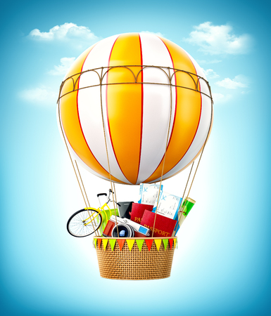 Colorful hot air balloon with passports, tickets, suitcase and bicycle inside a bascket. Unusual travel illustration Archivio Fotografico