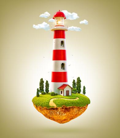 tree house: Fantastic lighthouse on a levitating island. Stock Photo