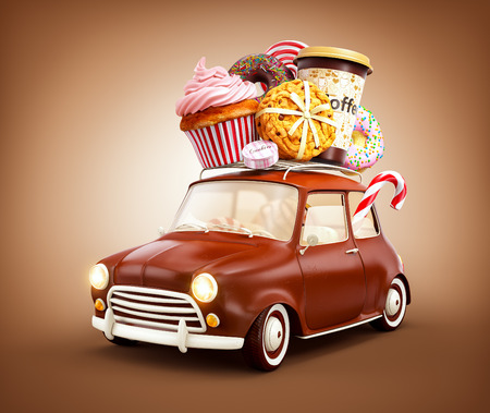 Cute fantastic chocolade car with sweets and coffee on top. 版權商用圖片 - 58485387