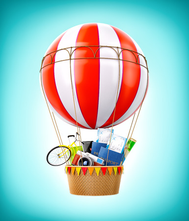 creative design: Colorful hot air balloon with passports, tickets, suitcase and bicycle inside a bascket. Unusual travel illustration Stock Photo