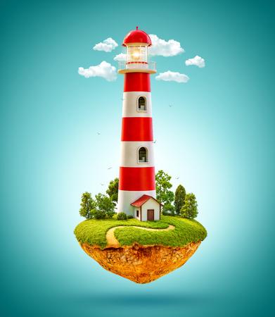 house fly: Fantastic lighthouse on a levitating island. Stock Photo