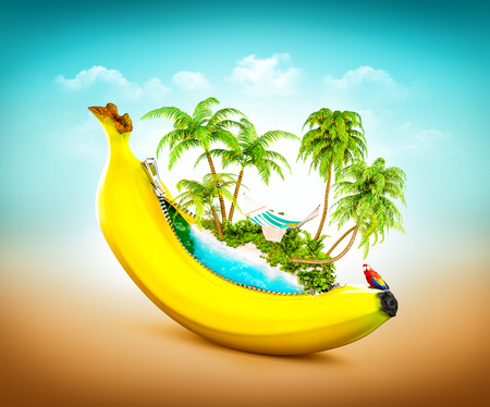 Amazing tropical beach with palms inside banana. Unusual travel illustrtion