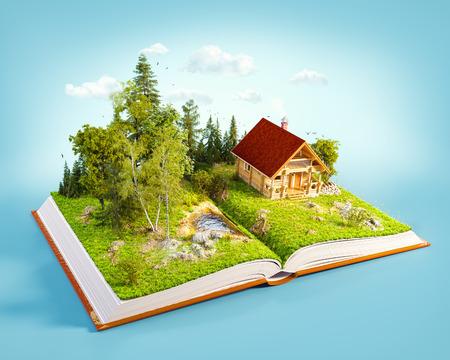 Carino casa di tronchi di campagna in una splendida foresta su pagine di libro aperto. Insolito illustrazione 3D. Archivio Fotografico