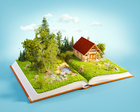 Cute countryside log house in a wonderful forest on pages of opened book. Unusual 3D illustration. Stock Photo
