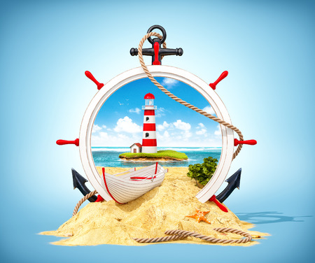 Wonderful  landscape with light house on the island in wooden helm. Unusual 3D illustration