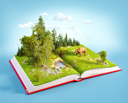 Opened red book with wild forest and bear on pages. Endangered-species list. Unusual 3D illustration Foto de archivo