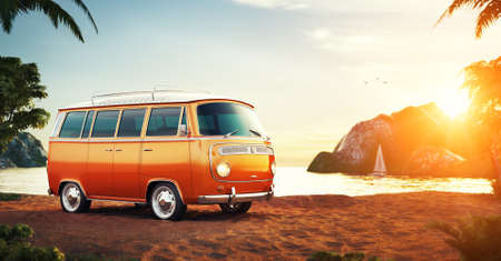 out of town: Cute retro car on a beach at beautiful sunset. Out of town.  Unusual 3D illustration