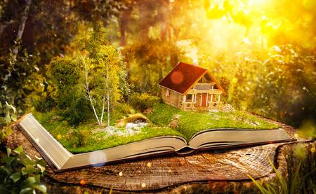 casa de madera mágica linda en un maravilloso bosque en las páginas del libro abierto en un bosque fantástico. Ilustración 3D inusual.