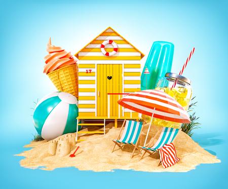 Colorful retro beach hut , lemonade, deck chairs and ice cream on a beach. Unusual summer 3D illustration 스톡 콘텐츠