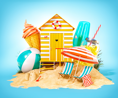 Colorful retro beach hut , lemonade, deck chairs and ice cream on a beach. Unusual summer 3D illustration Foto de archivo