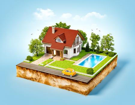 Weißes Haus Traum auf einem Stück Erde mit weißen Zaun, Garten, Pool und Bäumen.
