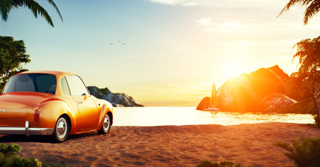 Cute retro car on a beach at beautiful sunset. Out of town.  Unusual 3D illustration