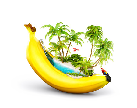 Amazing tropical beach with palms inside banana. Unusual travel illustrtion. Isolated on white