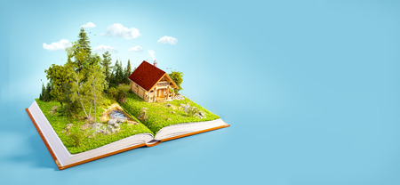 opened book: Cute countryside log house in a wonderful forest on pages of opened book. Unusual 3D illustration. Stock Photo