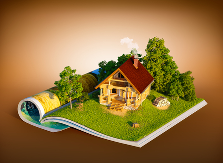 magazine page: Cute rural house in a forest on a page of opened magazine.  Unusual travel illustration Stock Photo