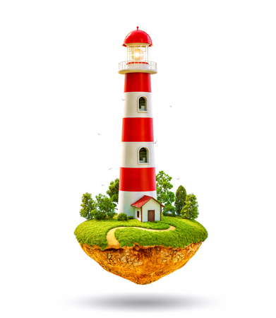 Fantastic lighthouse on a levitating island. Isolated
