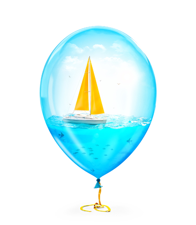 Unusual illustration of amazing yacht in the ocean inside of Inflatable air balloon. Isolated Stock Photo
