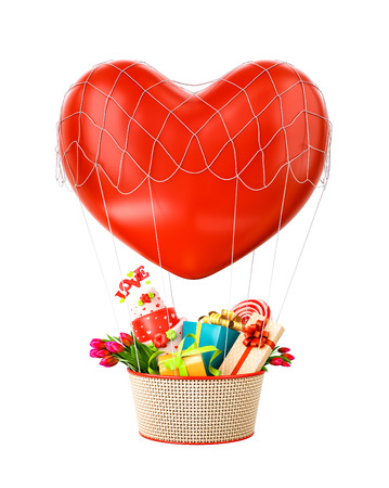 unusual valentine: Cute hot air balloon with a basket full of gifts and sweets. Unusual Valentines day illustration.