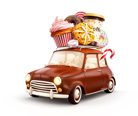 Cute fantastic chocolade car with sweets and coffee on top. Isolated on white Stock Photo