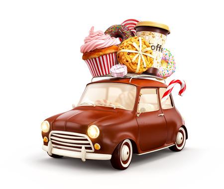Leuke fantastische chocolade auto met snoep en koffie op de top. Op wit wordt geïsoleerd Stockfoto - 61322100