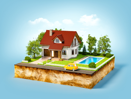 sections: White house of dream on a piece of earth with white fence, garden, pool  and trees.