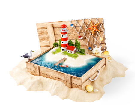 Cute lighthouse on the island in opened wooden box on a pile of sand. Isolated Stock Photo