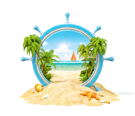 Wonderful tropical landscape with palms and beach in wooden helm. Unusual 3D illustration. Isolated