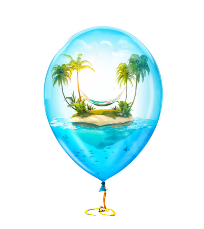 Unusual illustration of fantastic tropical island with palms and hammock in the ocean inside of Inflatable air balloon. Isolated