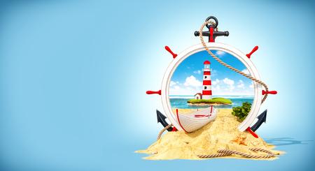 helm boat: Maravilloso paisaje con casa de la luz en la isla en timón de madera. Ilustración 3D inusual