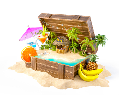 Tropical bar with cocktails and fresh fruits on the island inside opened wooden box on a pile of sand. Unusual party illustration. Isolated