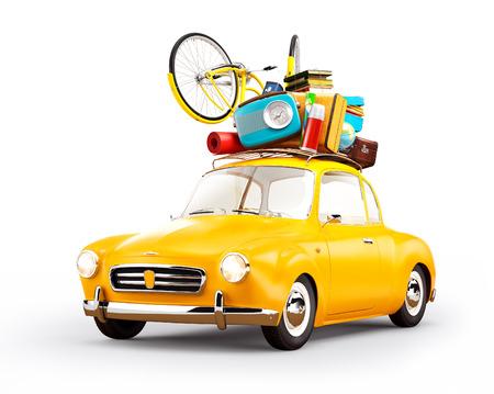Retro car with luggage. Unusual  travel illustration. Isolated Archivio Fotografico