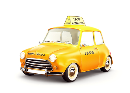 Cute retro yellow taxi car.  3D rendering. Isolated Stock Photo
