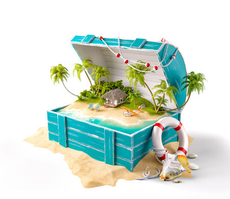 Fantastic tropical island with bungalow and deck chairs in opened wooden box on a pile of sand. Isolated Stockfoto