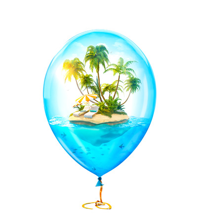 Unusual illustration of fantastic tropical island with palms and sunbeds in the ocean inside of Inflatable air balloon. Isolated