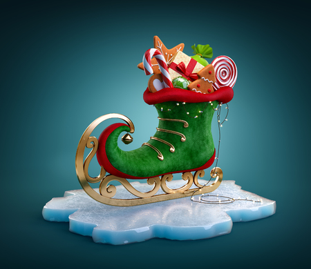 Magical elf skate full of christmas gifts and sweets. Unusual christmas illustration Standard-Bild