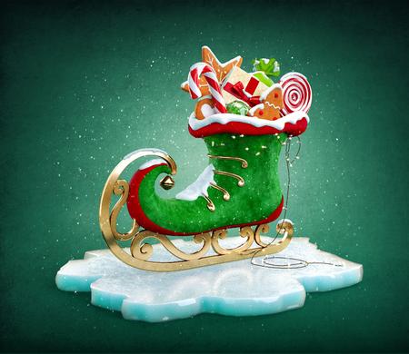 galletas de navidad: Mágico duende patín completo de regalos y dulces de navidad. ilustración de Navidad inusual Foto de archivo