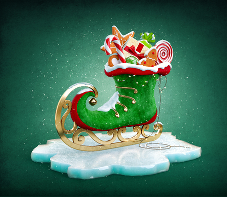 christmas cookie: Magical elf skate full of christmas gifts and sweets. Unusual christmas illustration Stock Photo