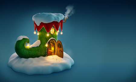 fairy: Amazing fairy house decorated at christmas in shape of elfs shoe with opened door and fireplace inside. Unusual christmas illustration.