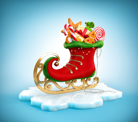 Magical elf skate full of christmas gifts and sweets. Unusual christmas illustration 스톡 콘텐츠