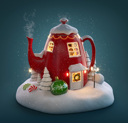 Amazing fairy house decorated at christmas in shape of kettle with christmas interior inside. Unusual christmas 3d illustration.