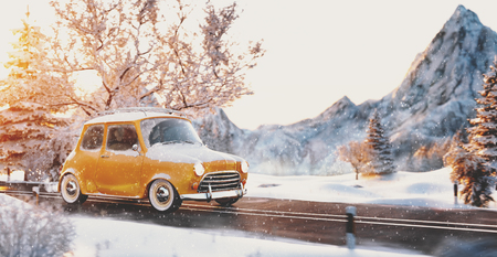 Cute little retro car  goes by wonderful countryside road at sunset in winter. Unusual 3d illustration