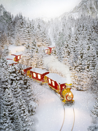 Amazing cute christmas train goes through fantastic winter forest in north pole. Unusual christmas 3d illustration Фото со стока